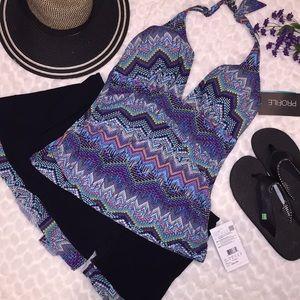 Profile Halter Tankini Ruffle Skirt Swimsuit Set
